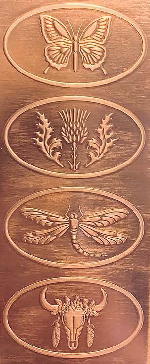 Butterfly, Dragonfly, Thistle, Skull Hair Clip Copper Pattern Pressing