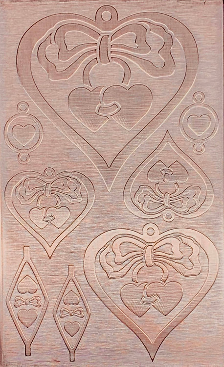 """Hearts & Bows Copper Pattern Pressing 2-1/2"""" X 4"""""""
