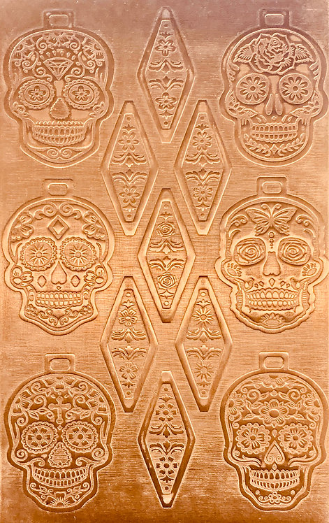 "Sugar Skulls Pendants & Bails Copper Pattern Pressing 2-1/2"" X 4"""