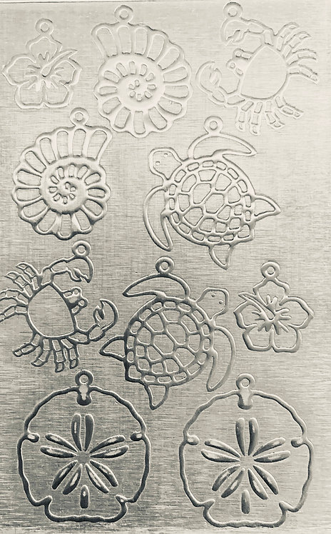 "Sea Creatures Earrings 3 Sterling Silver Pattern Pressing 2-1/2"" X 4"""
