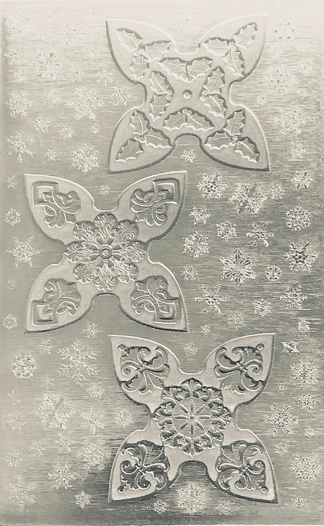 """3 Small Jingle Bell Sterling Silver Pattern Pressing 2-1/2"""" X 4"""""""