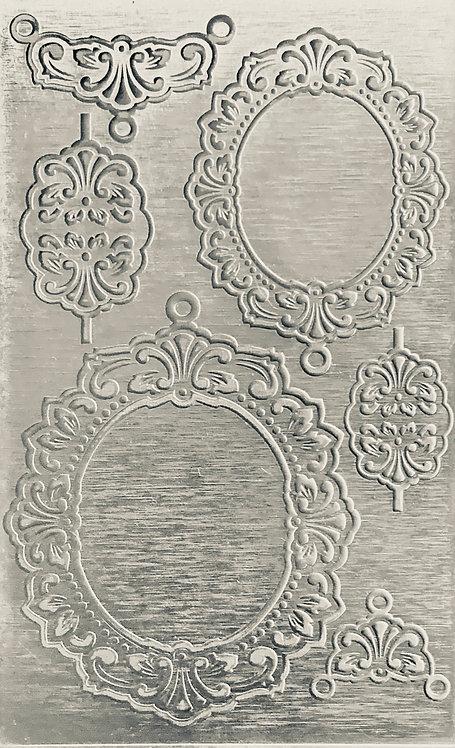 "Nouveau Backplate Sterling Silver Pattern Pressing 2-1/2"" X 4"""