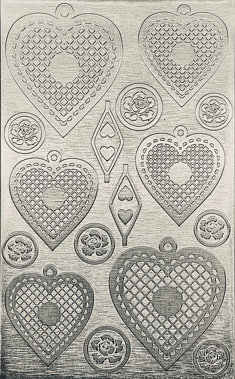 "Cross Hatched Hearts Sterling Silver Pattern Pressing 2-1/2"" X 4"