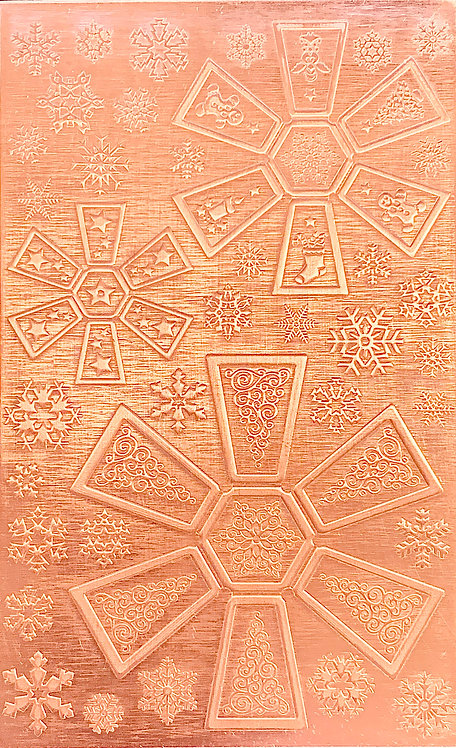 "Hexagon Jingle Bells Copper Pattern Pressing 2-1/2"" X 4"""