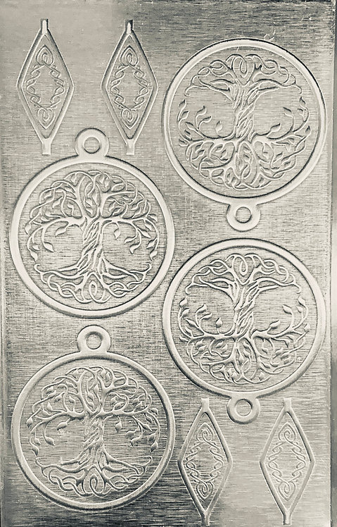 """Celtic Tree of Life Sterling Silver Pattern Pressing 2-1/2"""" X"""