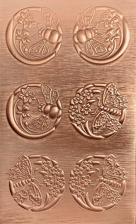 Garden Visitors Bees and Butterflies Copper Pattern Pressing