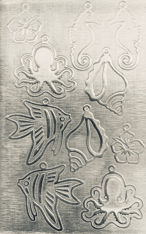"Sea Creatures Earrings 4 Sterling Silver Pattern Pressing 2-1/2"" X 4"""