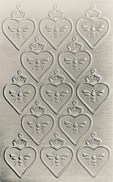 "Queen Bee Heart 4"" Sterling Silver Pattern Pressing 2-1/2"" X 4"""