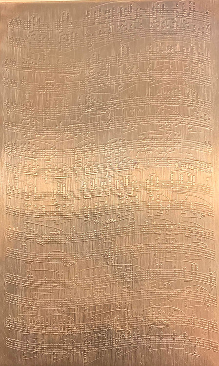 "Wavy Sheet Music Copper Pattern Pressing 2-1/2"" X 4"""