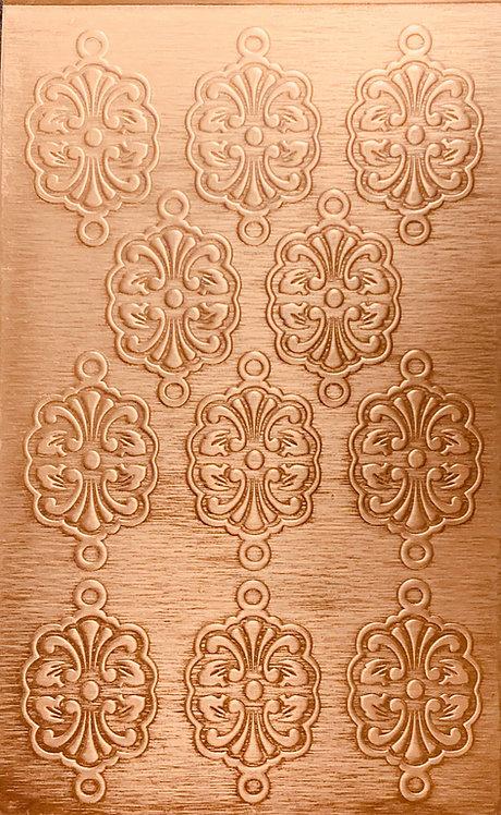 """Nouveau Bracelet Links Copper Pattern Pressing 2-1/2"""" X 4"""""""