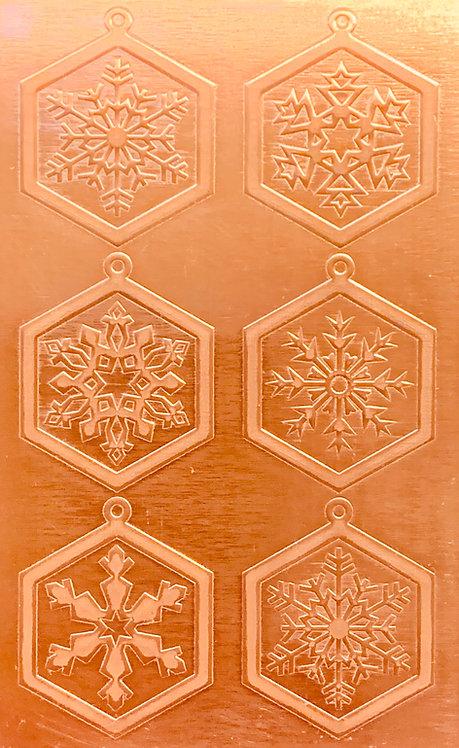 "Classic Snowflake Earrings 2 Copper Pattern Pressing 2-1/2"" X 4"""