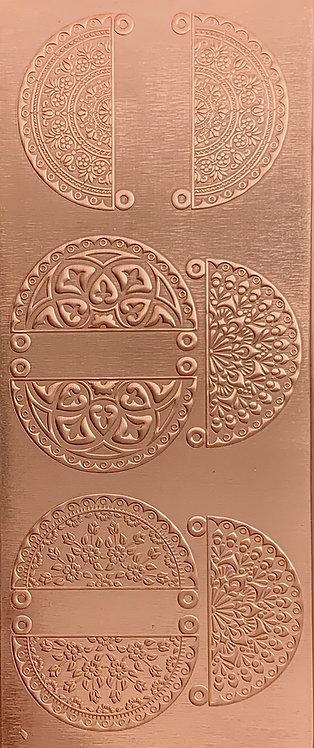 Boho Mandala Earrings and Pendants 1 Copper Pattern Pressing