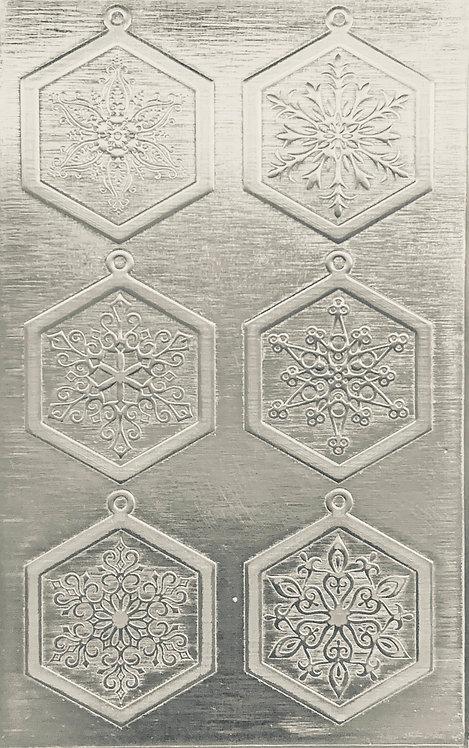 """Fancy Snowflake Earrings Sterling Silver Pattern Pressing 2-1/2"""" X 4"""""""