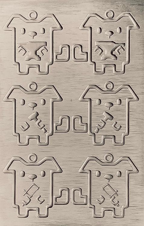 "Studio Dogs Sterling Silver Pattern Pressing 2-1/2"" X 4"""