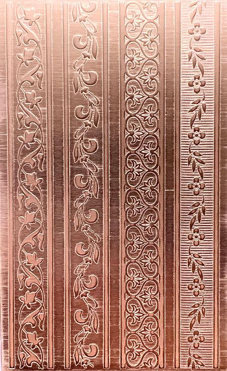 "Vertical Vine Rings Copper Pattern Pressing 2-1/2"" X 4"""