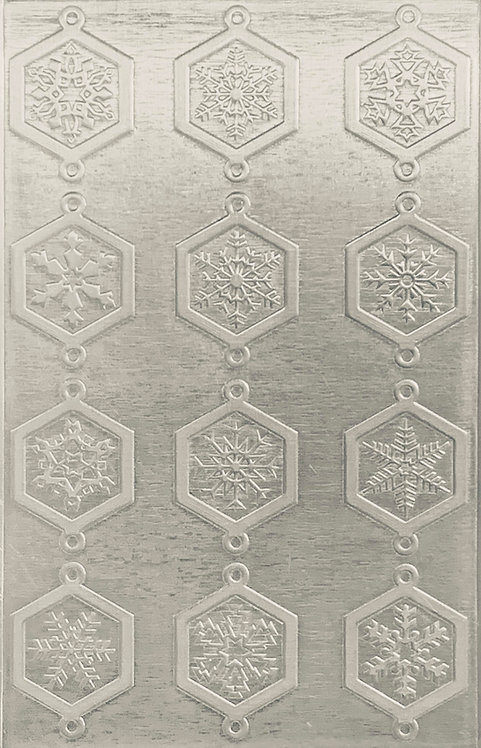 """Classic Octagonal Snowflake Links Sterling Silver Pattern Pressing 2-1/2"""" X 4"""""""