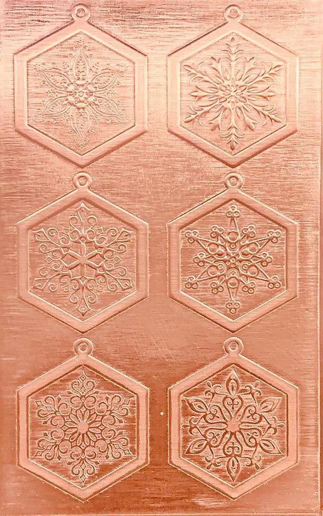 """Fancy Snowflake Earrings Copper Pattern Pressing 2-1/2"""" X 4"""""""