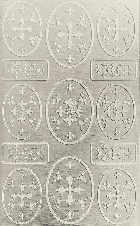 "Heraldic Pageantry Sterling Silver Pattern Pressing 2-1/2"" X 4"
