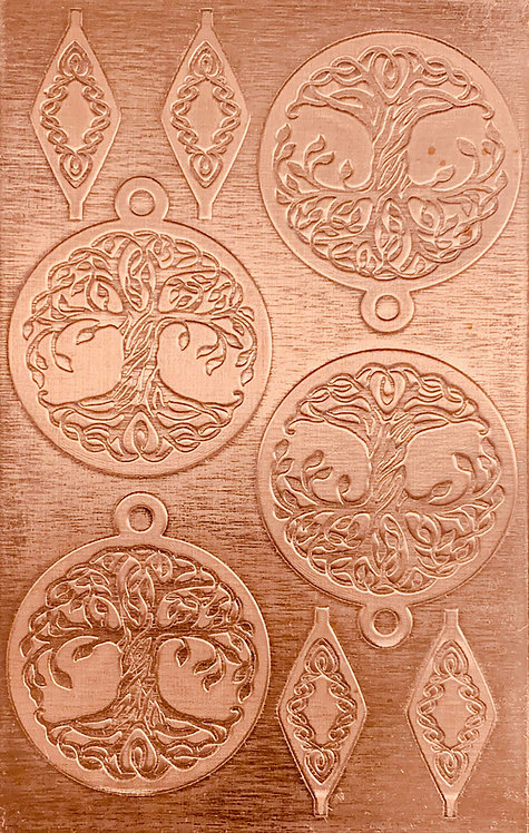 "Celtic Tree of Life Reverse Copper Pattern Pressing 2-1/2"" X 4"""