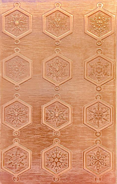"Fancy Octagonal Snowflake Links Copper Pattern Pressing 2-1/2"" X 4"""