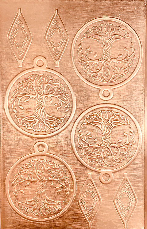 "Celtic Tree of Life Copper Pattern Pressing 2-1/2"" X 4"""