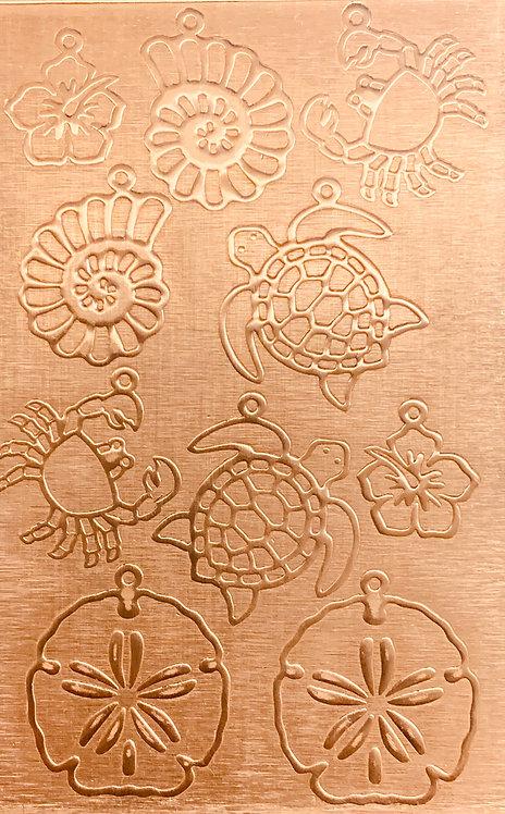 "Sea Creatures Earrings 3 Copper Pattern Pressing 2-1/2"" X 4"""