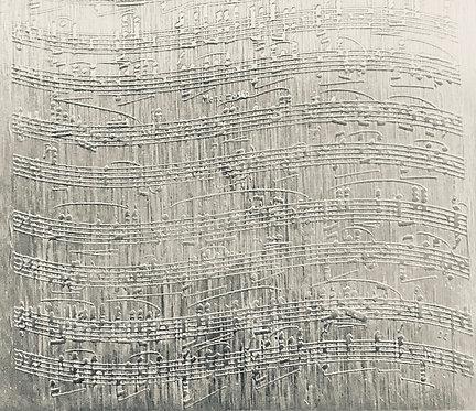 "Wavy Sheet Music Sterling Silver Pattern Pressing 2"" X 2-1/2"""