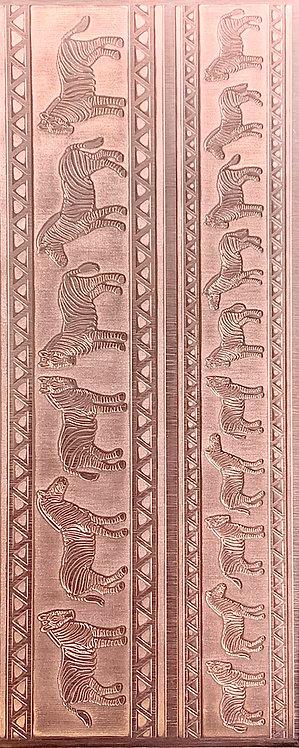 African Savanna Zebras Cuff Bracelets Copper Pattern Pressing