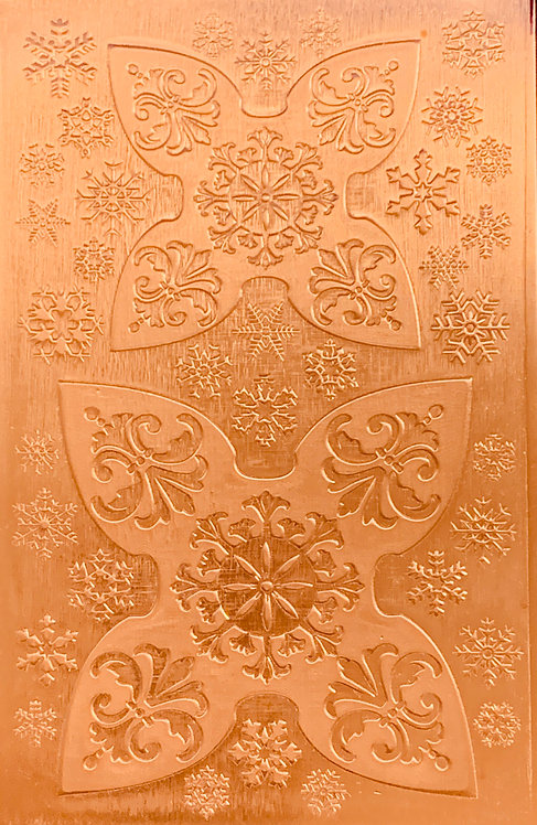 "Fleur De Lis Jingle Bell Copper Pattern Pressing 2-1/2"" X 4"""