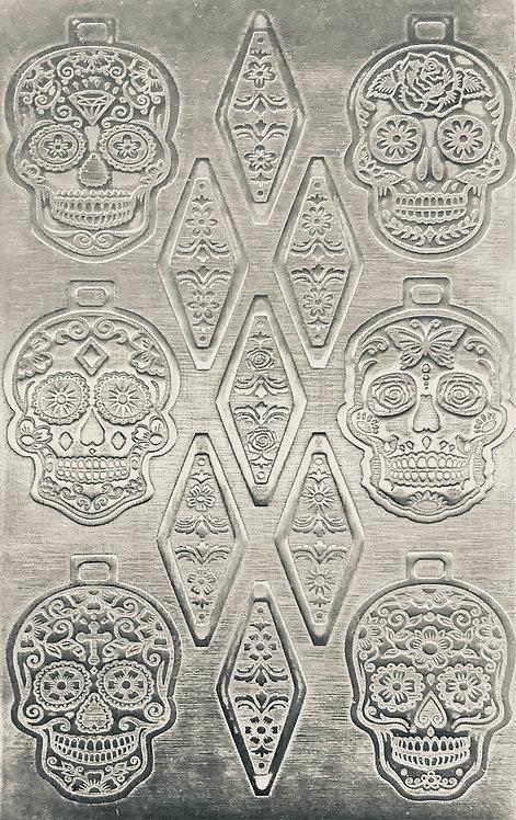 Sugar Skulls Pendants & Bails Sterling Silver Pattern Pressing