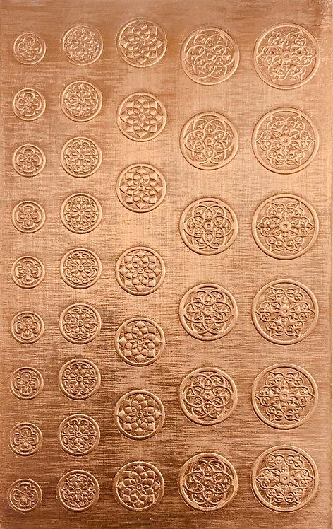 "Bead Caps 1/4"", 5/16"", 3/8"", 7/16"", 1/2"" Copper Pattern Pressing 2-1/2"" X 4"""