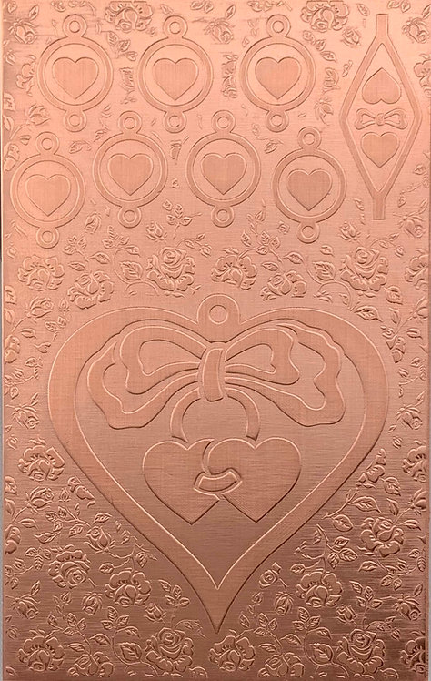"""Large Hearts & Bows Copper Pattern Pressing 2-1/2"""" X 4"""""""