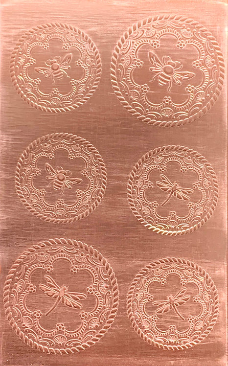 "Rustic Bees and Dragonflies Copper Pattern Pressing 2-1/2"" X 4"""