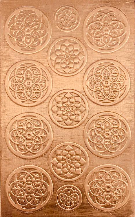 "Bead Caps 7/8"", 3/4"", 1/2"" Copper Pattern Pressing 2-1/2"" X 4"""