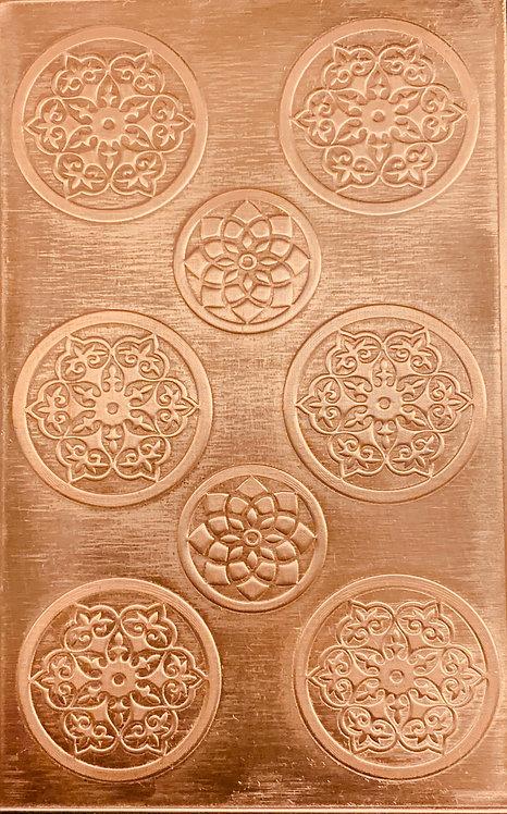 "Bead Caps 3/4"" & 1"" Copper Pattern Pressing 2-1/2"" X 4"""