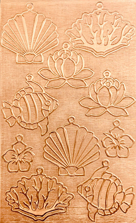 "Sea Creatures Earrings 1 Copper Pattern Pressing 2-1/2"" X 4"""