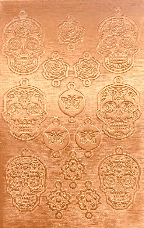 Sugar Skulls Earrings & Links Copper Pattern Pressing 1