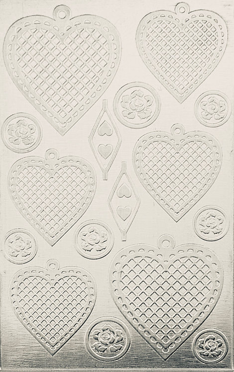 """Cross Hatched Hearts 2 Sterling Silver Pattern Pressing 2-1/2"""" X 4"""""""