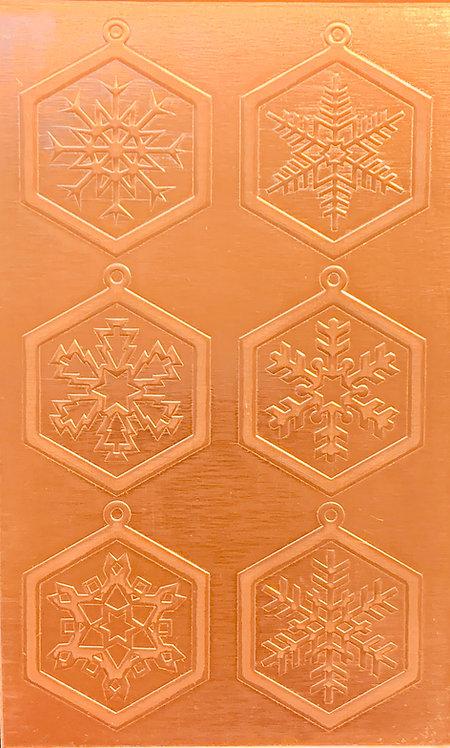 "Classic Snowflake Earrings Copper Pattern Pressing 2-1/2"" X 4"""