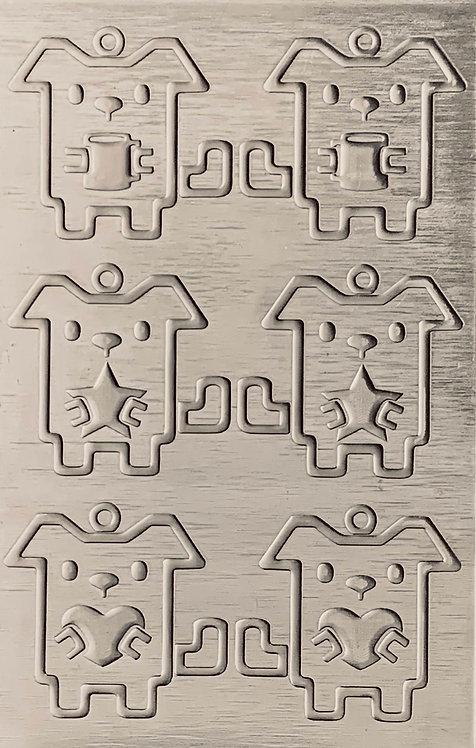 "Coffee, Star, Heart Dogs Sterling Silver Pattern Pressing 2-1/2"" X 4"""