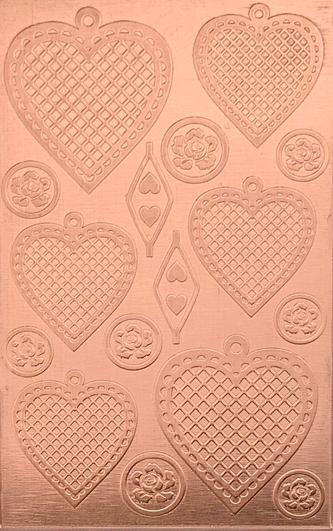 "Cross Hatched Hearts 2 Copper Pattern Pressing 2-1/2"" X 4"""