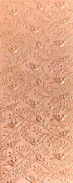 Birds on Branches Vertical Puffy Background Copper Pattern Pressing