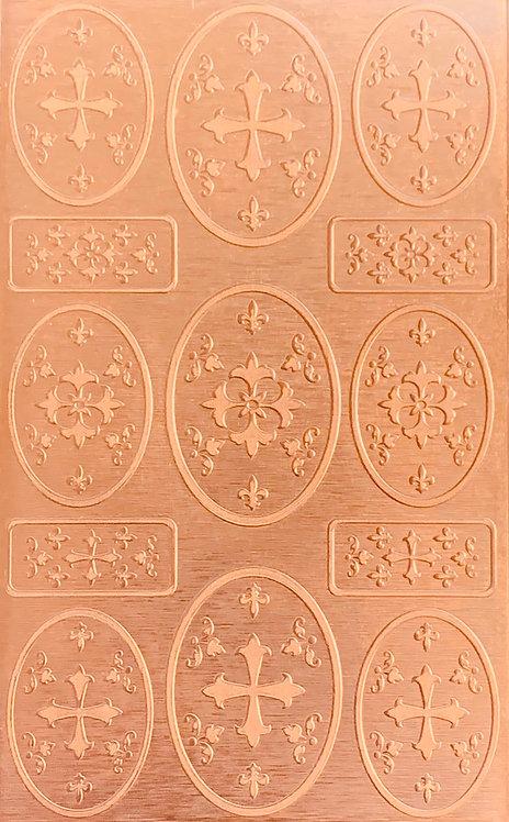 "Heraldic Pageantry Copper Pattern Pressing 2-1/2"" X 4"""