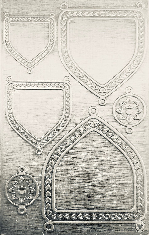 """Engraved Shields Backplate Sterling Silver Pattern Pressing 2-1/2"""" X 4"""""""