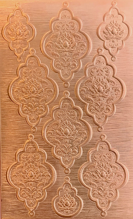 """Double Loop Damask Copper Pattern Pressing 2-1/2"""" X 4"""""""