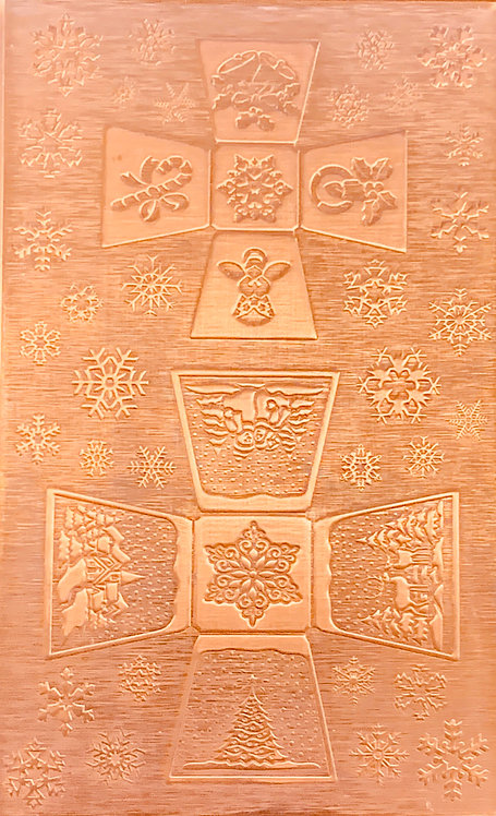 """Square Sided Jingle Bell Copper Pattern Pressing 2-1/2"""" X 4"""""""