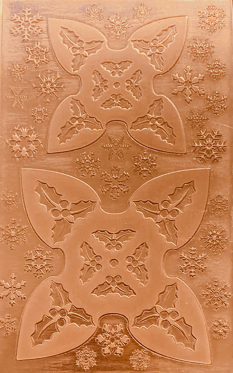 """Holly Jingle Bell Copper Pattern Pressing 2-1/2"""" X 4"""""""
