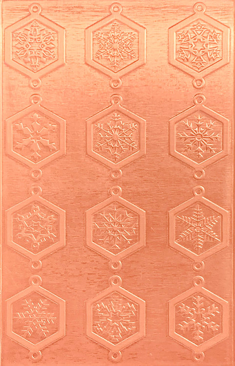 "Classic Octagonal Snowflake Links Copper Pattern Pressing 2-1/2"" X 4"""