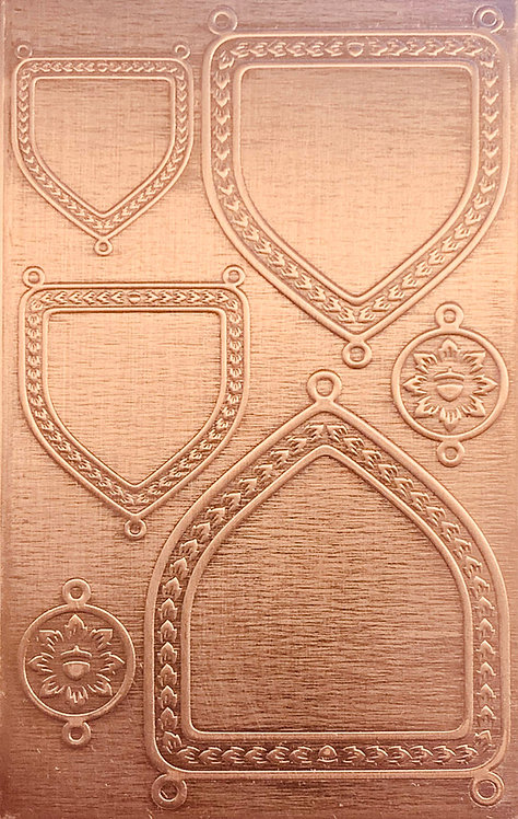 """Engraved Shields Backplates Copper Pattern Pressing 2-1/2"""" X 4"""""""
