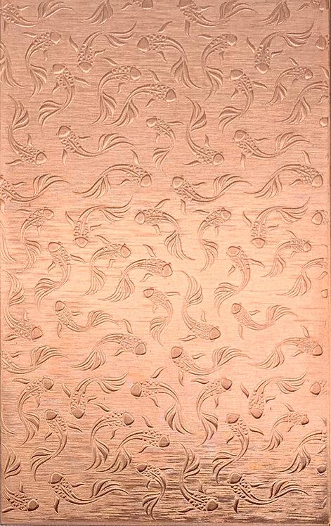"Koi Background Medium Copper Pattern Pressing 2-1/2"" X 4"""